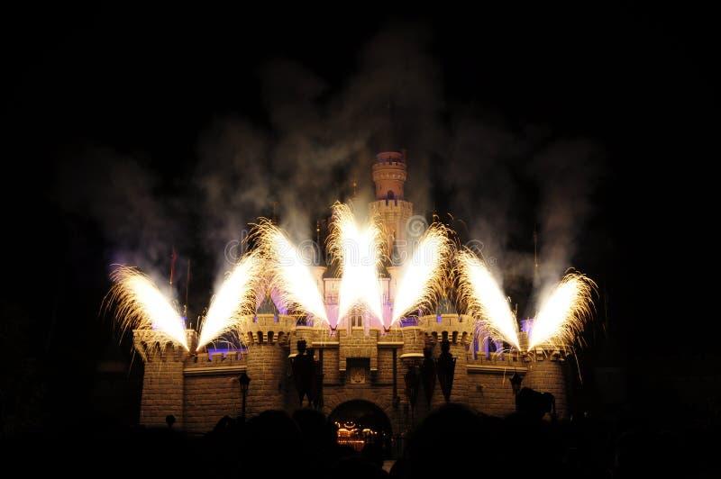 Château de Disney avec le feu d'artifice photos libres de droits