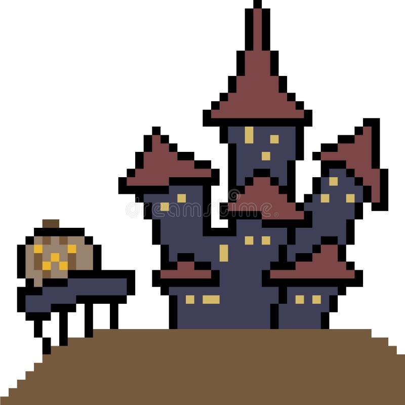 Château de Halloween d'art de pixel de vecteur illustration stock