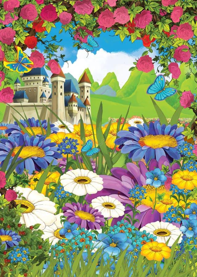 Château de la scène estivale en caricature sur le pré aux roses - personne sur place illustration libre de droits