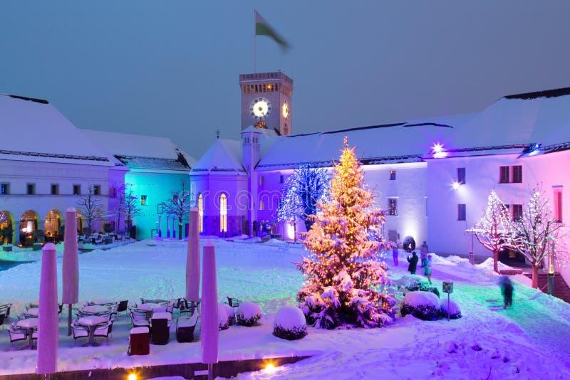 Château de Ljubljana la nuit photographie stock libre de droits