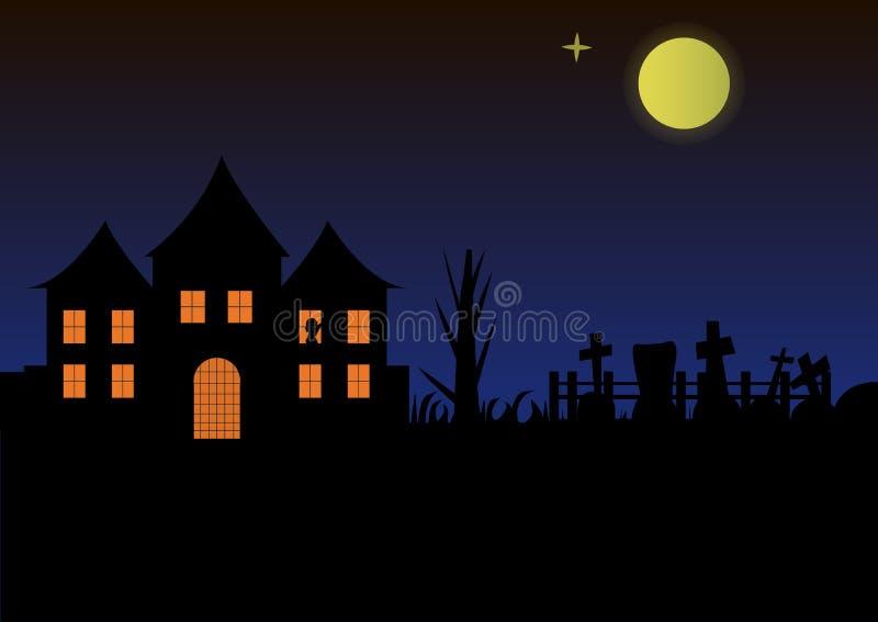 Château de maison de paysage de Halloween avec les fenêtres brûlantes et les vues gothiques illustration stock