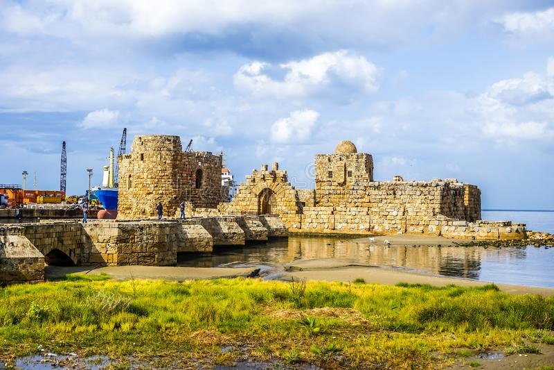 Château 01 de mer de croisés de Sidon photographie stock libre de droits