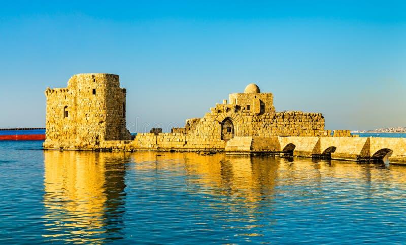 Château de mer de Sidon au Liban images libres de droits