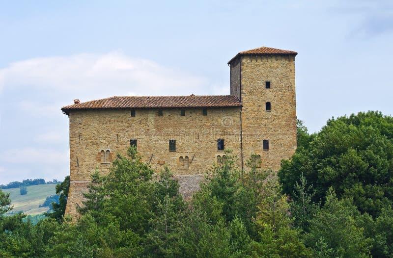 Château de Pellegrino Parmense. Émilie-Romagne. L'Italie. image stock