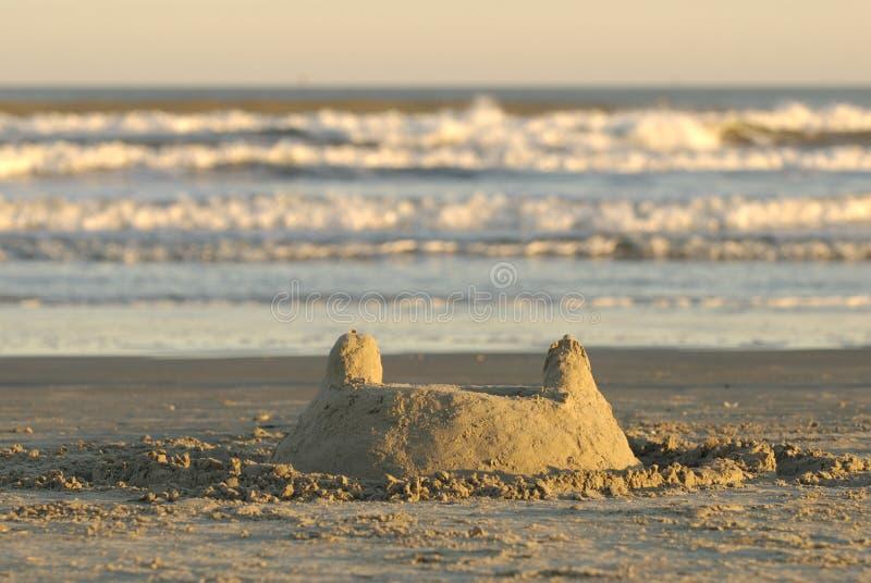 Château de sable de côte de Golfe du Texas photos libres de droits