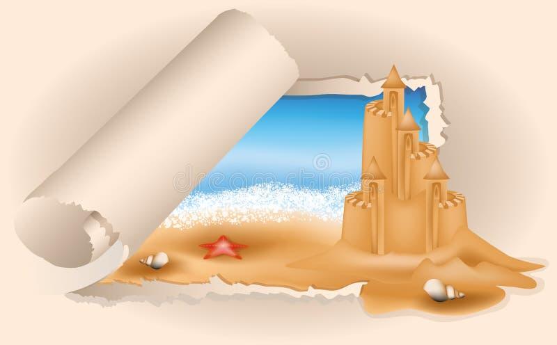 Château de sable de carte d'été sur la plage illustration stock