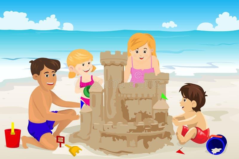 Château de sable de fondation d'une famille illustration stock