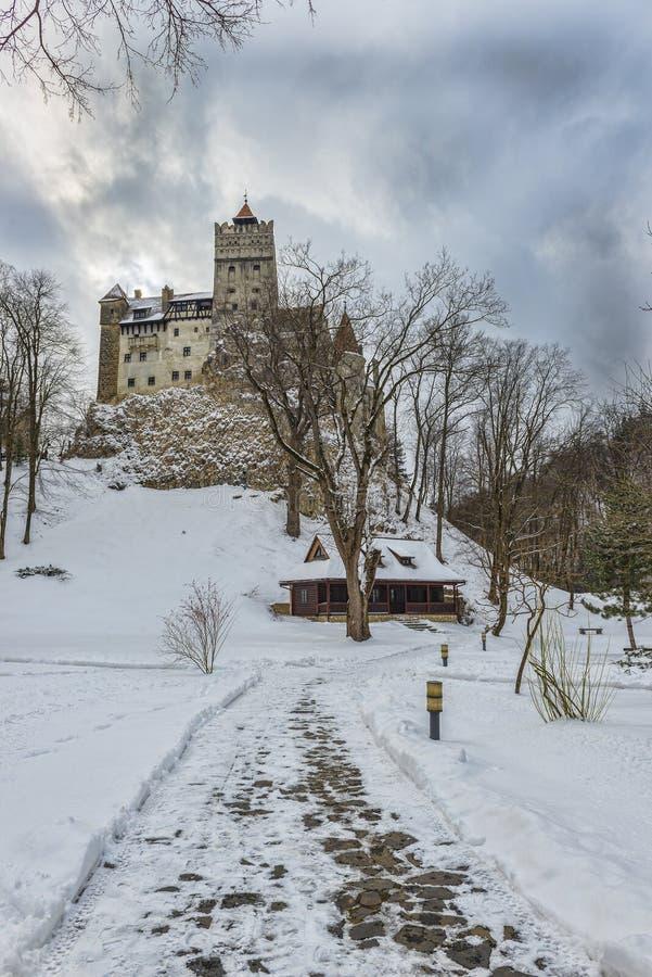 Château de son pendant la saison d'hiver photo stock