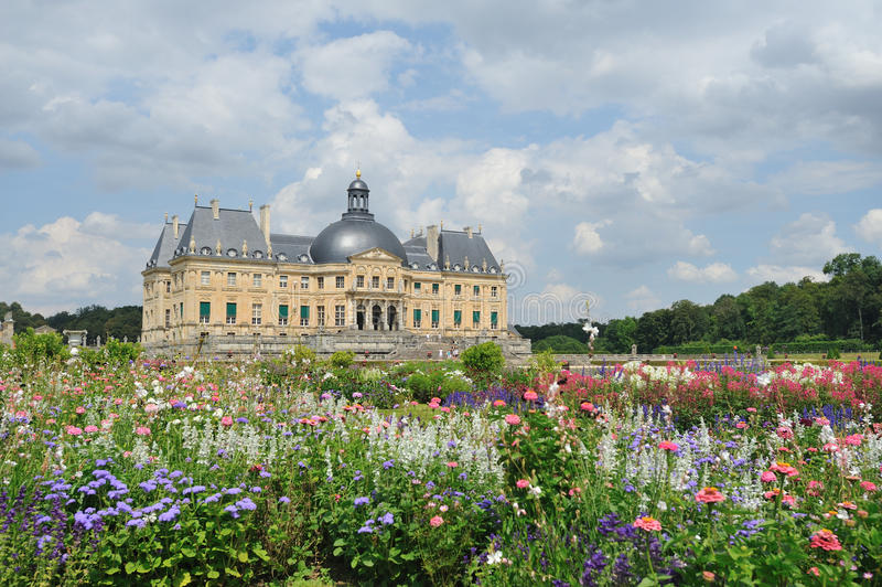 Château de Vaux-le-Vicomte. Is a baroque French château located in Maincy, near Melun, 55 km southeast of Paris in the Seine-et-Marne département of royalty free stock photography
