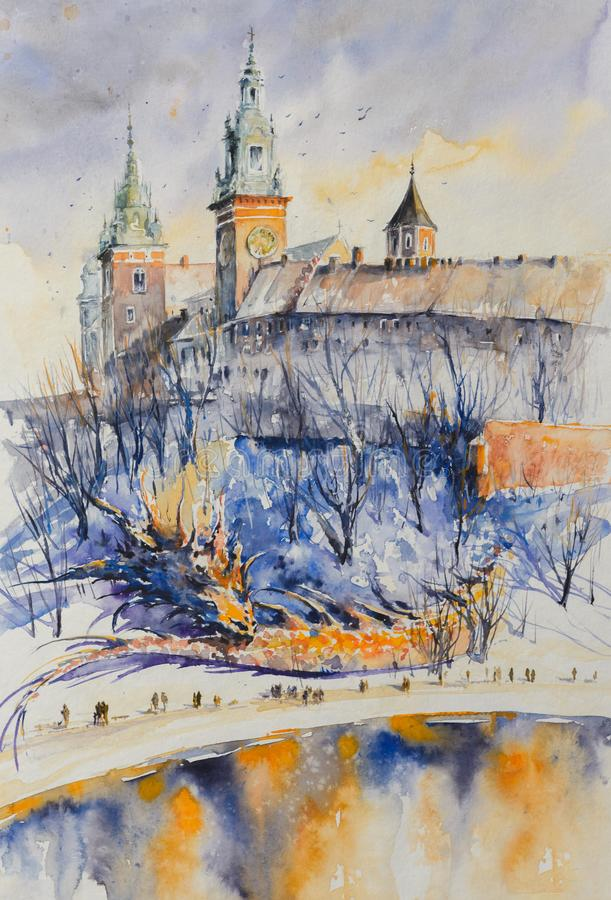 Château de Wawel, aquarelle de Cracovie peinte illustration stock