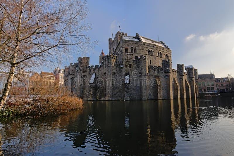 Château des comptes en hiver, Gand photographie stock libre de droits