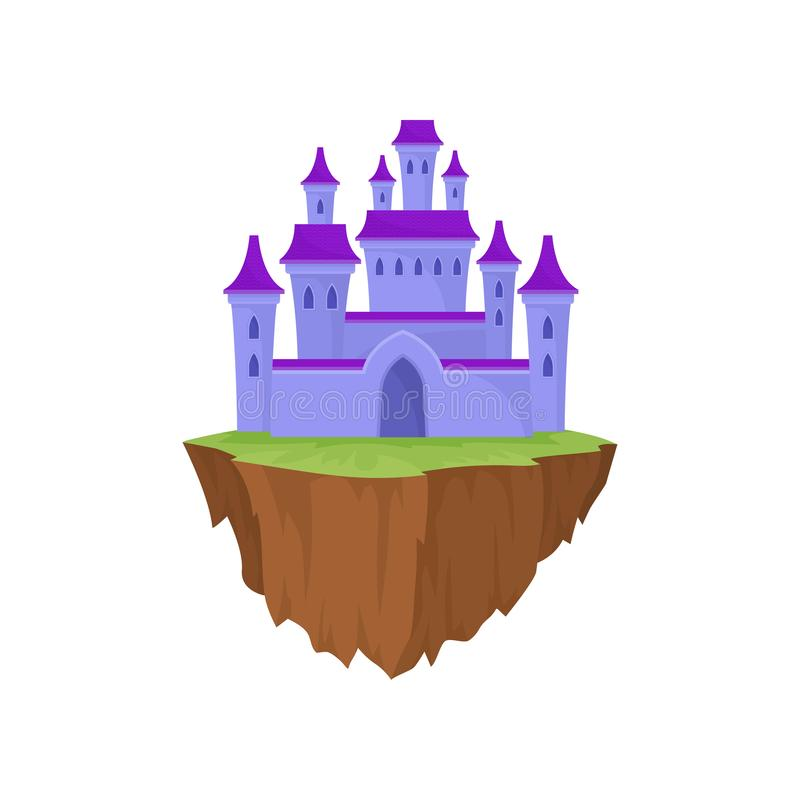Château en pierre pourpre d'île de bande dessinée dans le rétro style illustration de vecteur