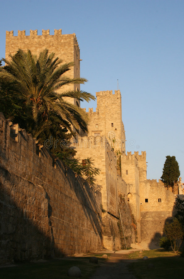 Château en Rhodes, Grèce photos stock