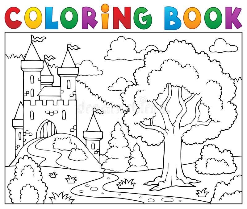 Château et arbre de livre de coloriage illustration libre de droits