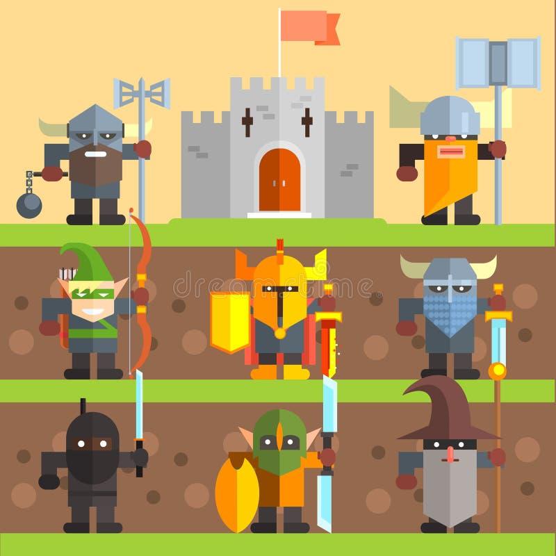 Château et chevaliers Ensemble médiéval de vecteur de jeu illustration stock