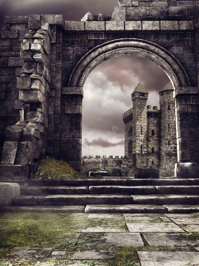Château et mur ruiné illustration de vecteur