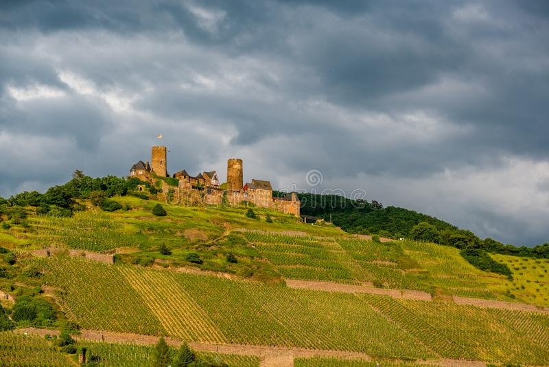 Château et vignobles de Thurant au-dessus de rivière de la Moselle près d'Alken, Allemagne photos libres de droits