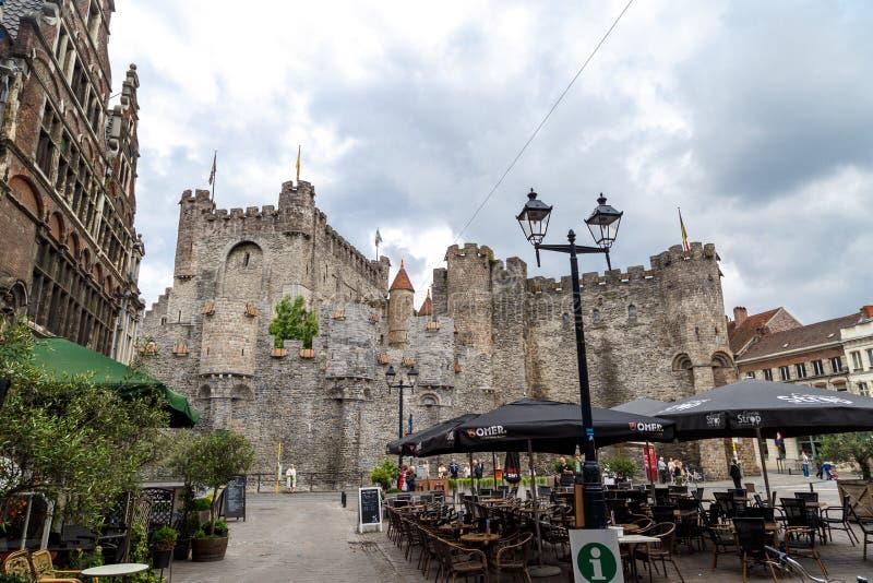 Château extérieur de Gravensteen dans le monsieur image stock