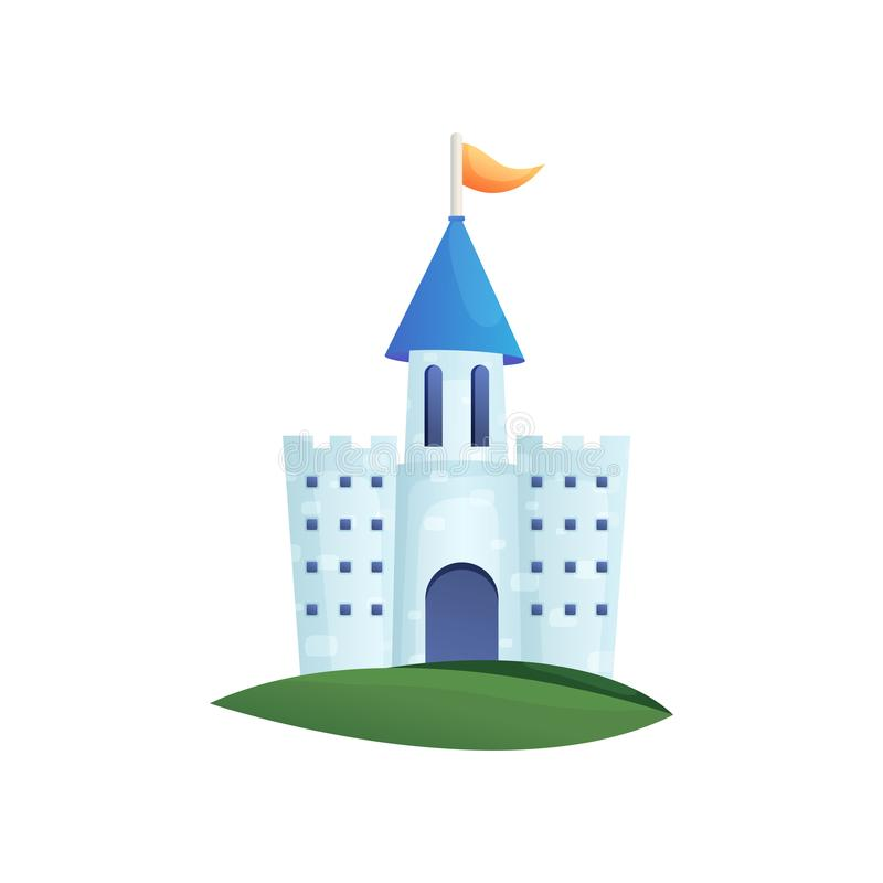 Château féerique coloré mignon avec le toit bleu et le drapeau orange illustration libre de droits