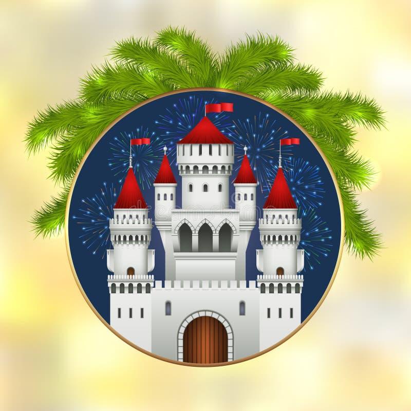 Château, feux d'artifice et sapin blancs de Noël illustration de vecteur