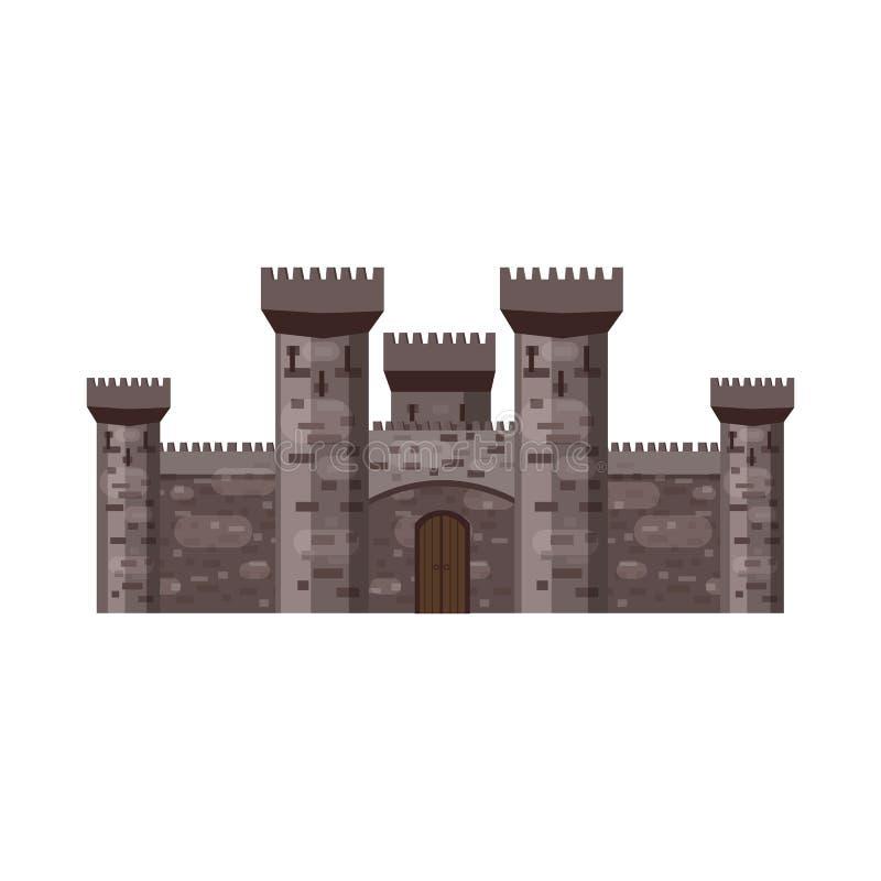 Château, forteresse, antique, Moyens Âges l'Europe, palais médiéval avec de hautes tours, vecteur, bannières d'architecture, d'is illustration de vecteur
