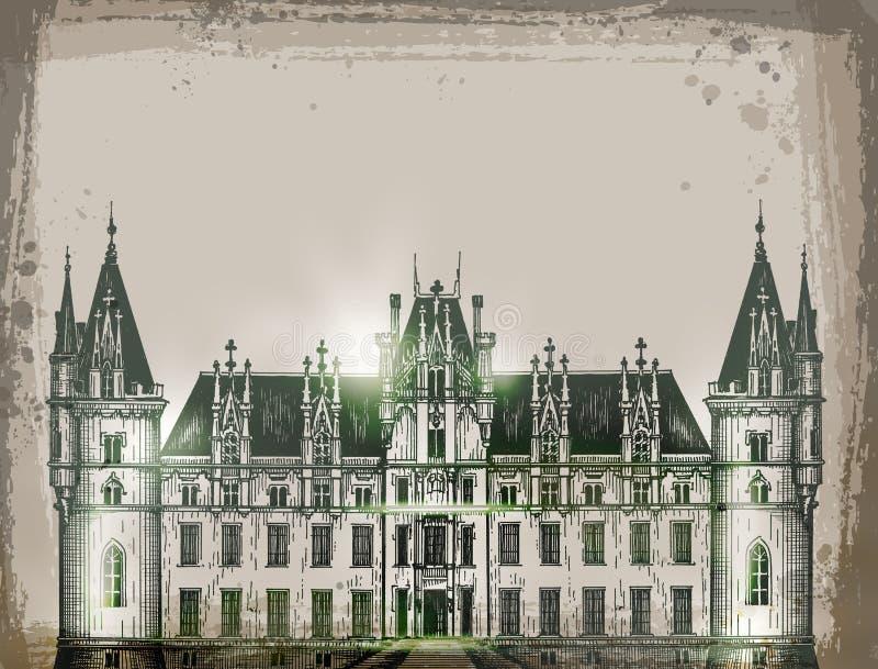 Château, France Vecteur tiré par la main de croquis de crayon illustration de vecteur