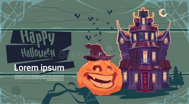 Château gothique heureux de Halloween avec des fantômes et le concept de carte de voeux de vacances de potiron illustration libre de droits