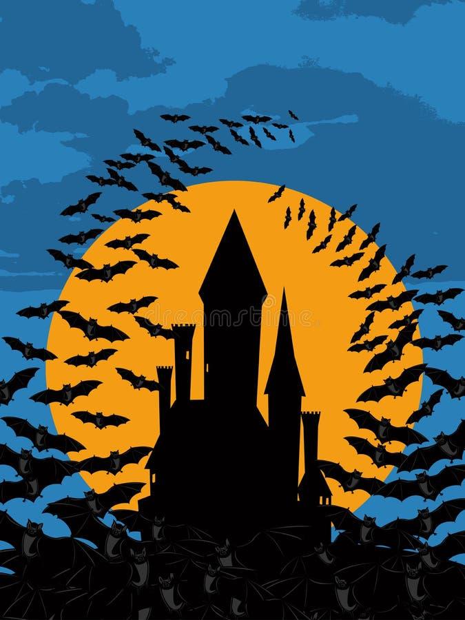 Château Halloween de battes illustration de vecteur