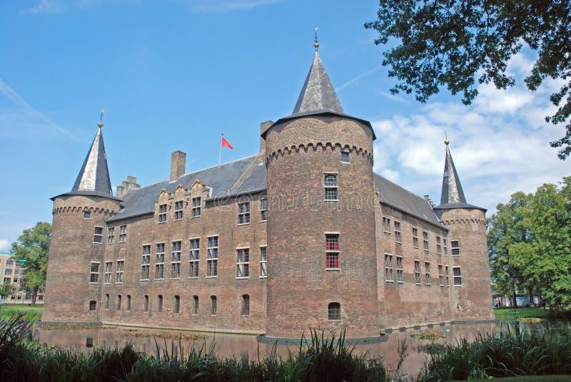 Château hollandais Helmond, château moated médiéval carré photographie stock