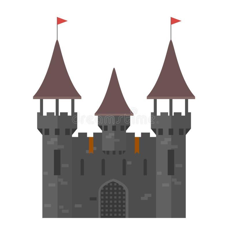 Château médiéval avec des tours - ville murée illustration libre de droits