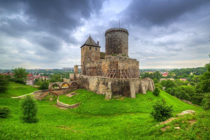 Château médiéval dans Bedzin au crépuscule image libre de droits