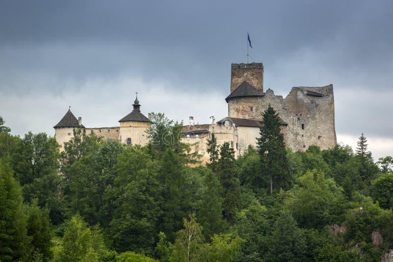 Château médiéval de Niedzica au lac Czorsztyn image stock