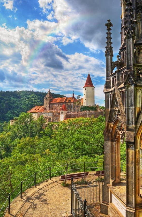 Château médiéval Krivoklat en Tchèque images libres de droits