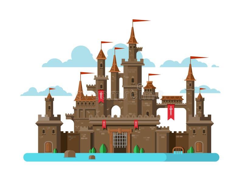 Château médiéval sur le blanc illustration de vecteur