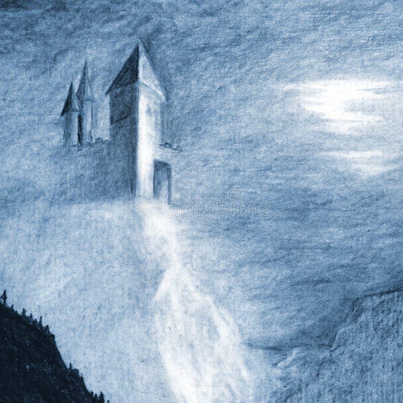 Château mystique isolé sur la falaise au-dessus de la mer illustration libre de droits