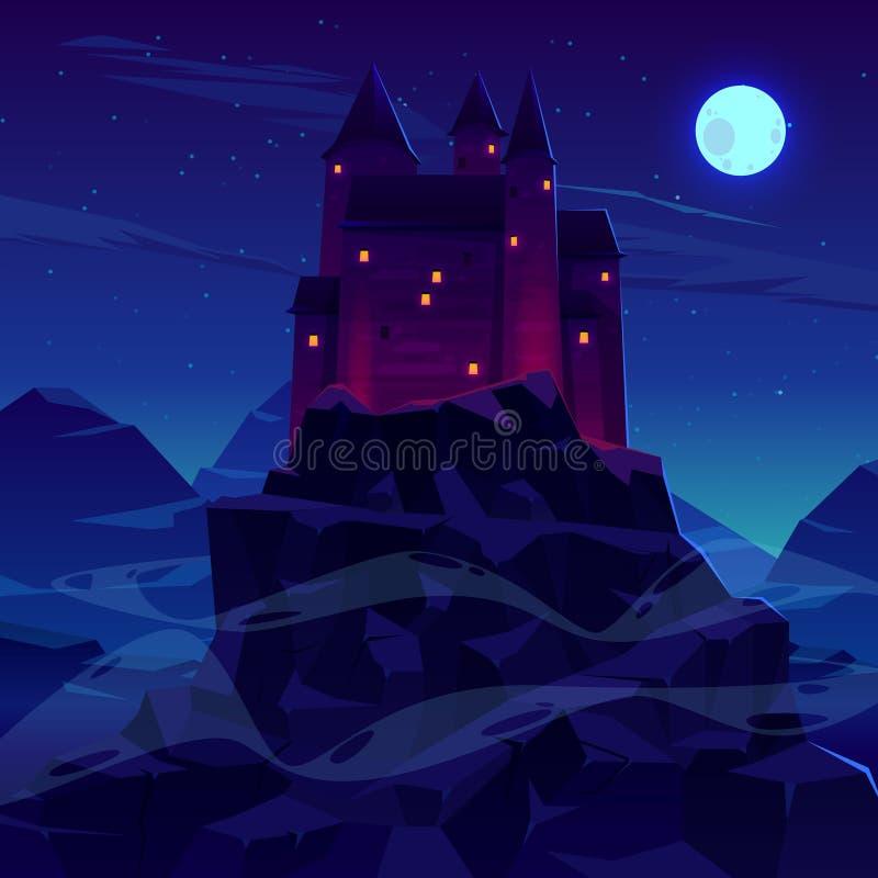 Château ou forteresse antique dans le vecteur de montagnes illustration stock