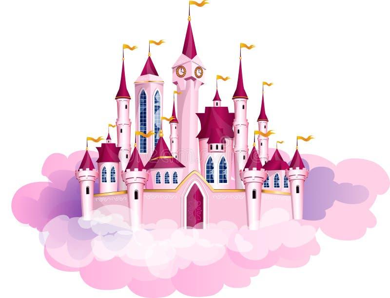 Château rose de magie de princesse de vecteur illustration stock