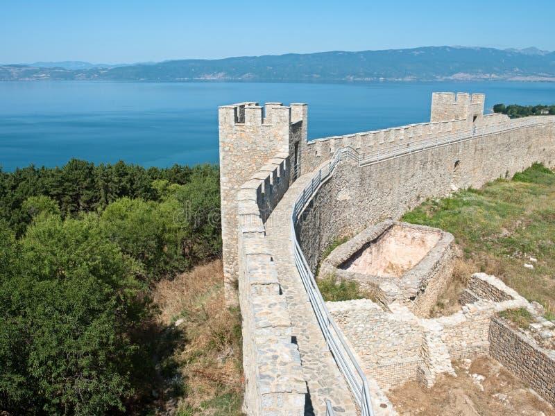 Château Samuil et lac Ohrid, République Macédoine photos stock