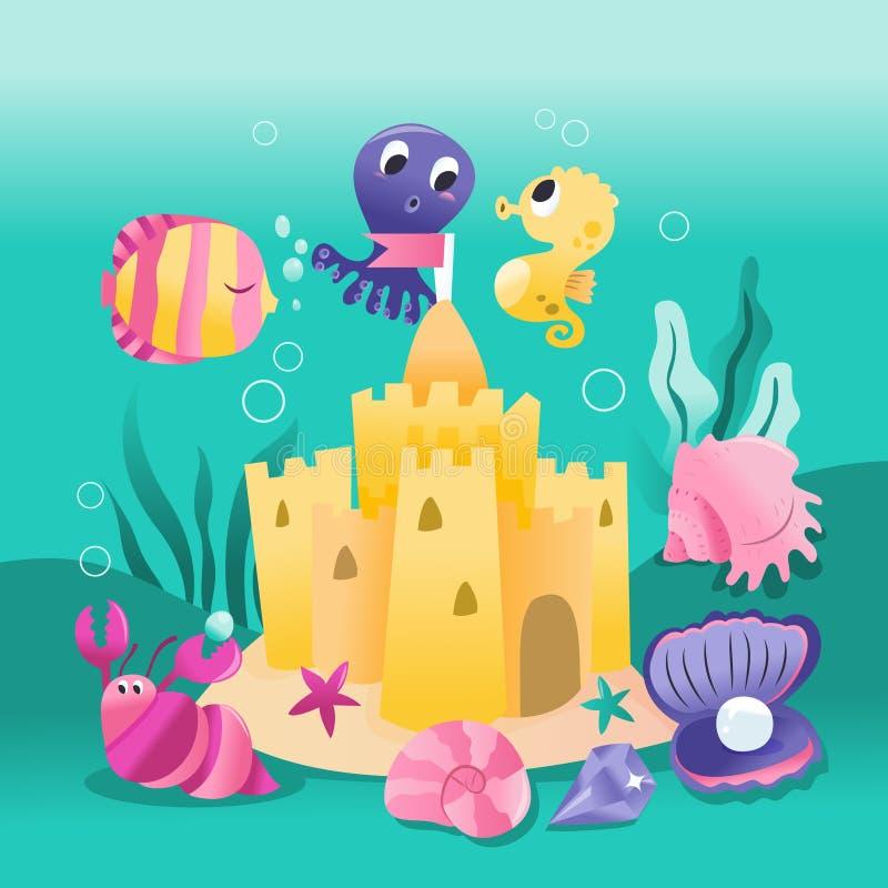 Château sous-marin mignon superbe de sable de créatures de mer illustration libre de droits