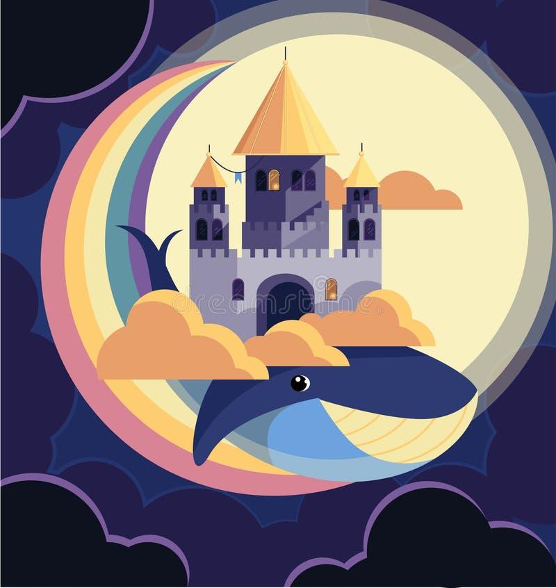 Château volant la nuit sur une baleine dans les nuages illustration de vecteur