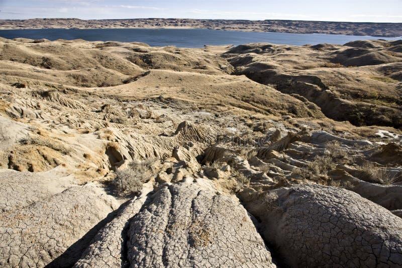 Châteaux de sable de lac Diefenbaker photos stock