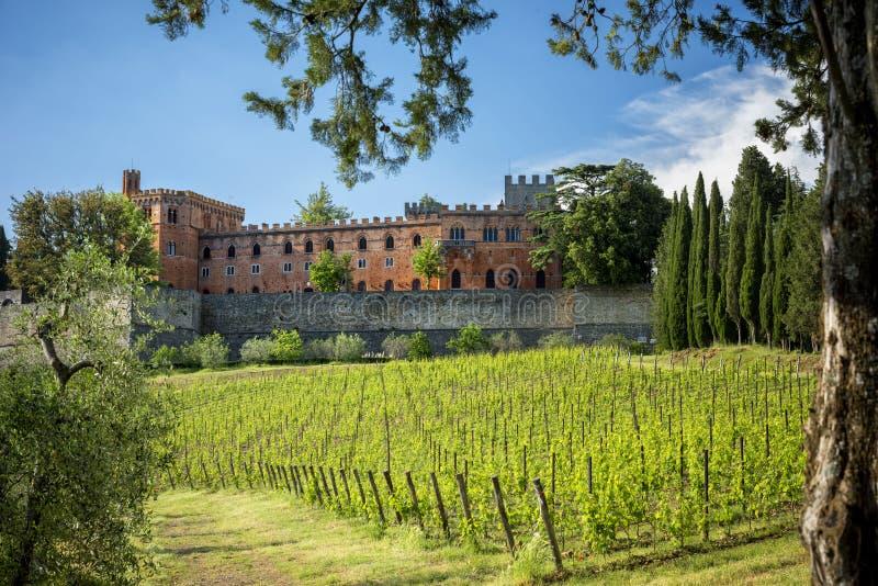 Châteaux et vignobles de la Toscane, région de vin de chianti d'Ital photo stock
