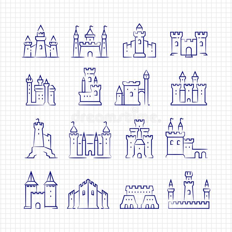 Châteaux médiévaux de croquis réglés à la page rayée illustration libre de droits