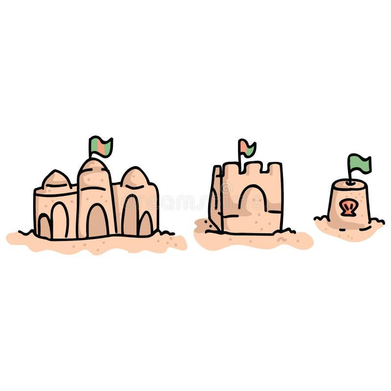 Ch?teaux mignons de sable de plage avec l'ensemble de motif d'illustration de vecteur de bande dessin?e de drapeau Clipart tir? p illustration de vecteur