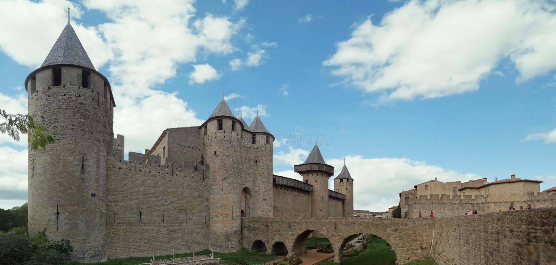 Château Comtal на средневековом огороженном городе Каркассона стоковое изображение rf
