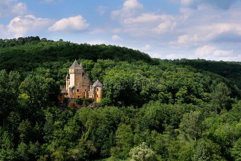 Château de Laussel i den Noir Périgorden royaltyfri fotografi