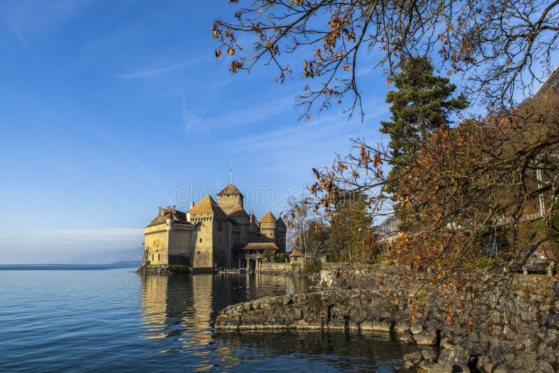 Château DE Chillon Castle in Veytaux, Zwitserland royalty-vrije stock fotografie