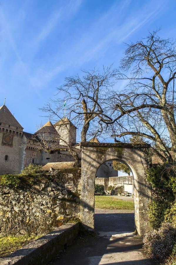 Château DE Chillon Castle in Veytaux, Zwitserland stock foto