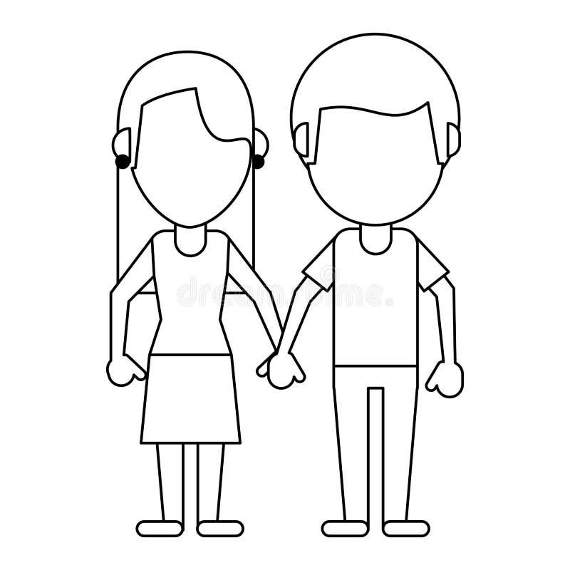Chłopak i dziewczyny spinać ręki w czarny i biały royalty ilustracja