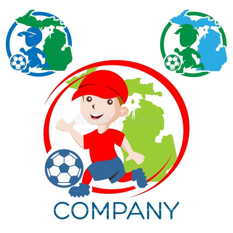 Chłopiec gracz futbolu logo również zwrócić corel ilustracji wektora ilustracja wektor